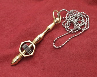 Steampunk jewelry, solid brass spinner necklace