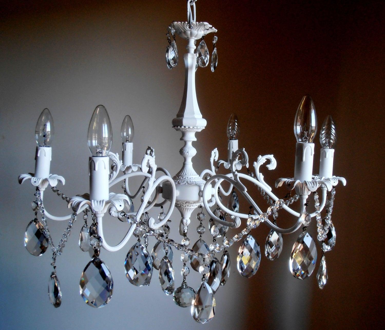 Lampadario bianco a gocce vetro cristalli 6 luci vintage anni