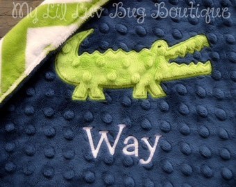Personalized baby blanket minky-navy blue and jade green alligator- lovey blanket