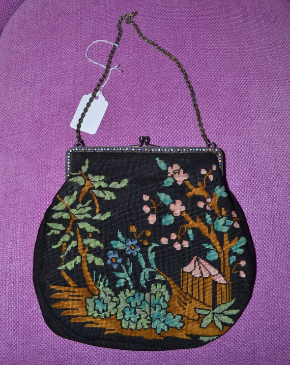 Now 15% off Vintage cca 1920 1930 embroidered petit point bag with oriental scene on a metal and bl