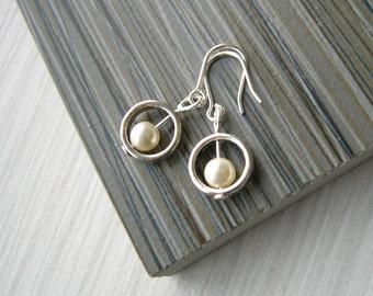 Pearl Drop Earrings - Minimalist Jewelry, Dainty, Tiny, Contemporary, Modern, Bridal, Bridemaids, June Birthstone Gift, Titanium, Sterling