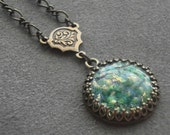 Emerald Green Opal Necklace Rare Vintage Glass Opal Brass Filigree Jewelry Emerald Green Jewelry Emerald Green Fire Opal Jewelry