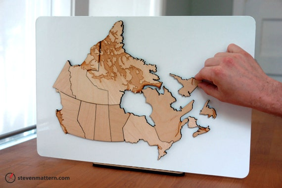 Canada Map Puzzle Birch Plywood - Canada map puzzles