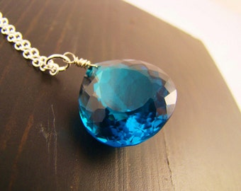 Sale Blue Topaz Gem Necklace - Sterling Silver, gold, rose gold, oxidized silver