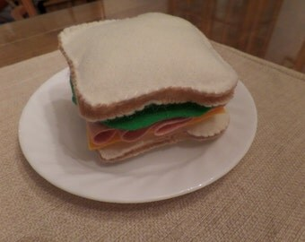 Felt Food Set, Ham Sandwich, White Bread, Ham, Cheese, Lettuce
