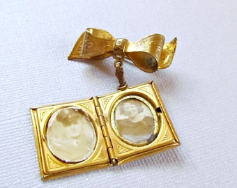 Gold Book Locket Bow Pin Coro