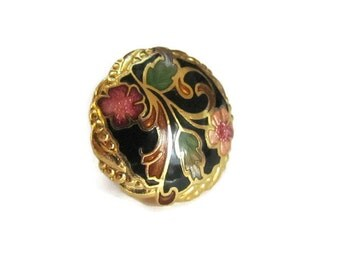Small Cloisonne Pin Floral Enamel Brooch