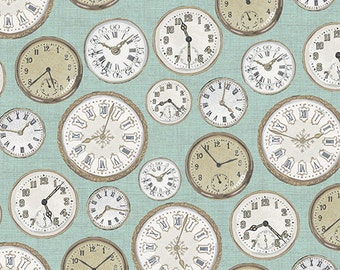 Vintage From Andover Fabrics - Cream and Taupe Clocks Watch Faces on Robin's Egg Blue - Antique Timepieces
