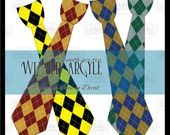 Instant Download 4 Wizard Uniform Ties, Red Gold, Black Green, Yellow Black, Bronze Blue, Printable Wizard Tie Outfit, Argyle Costume Ties