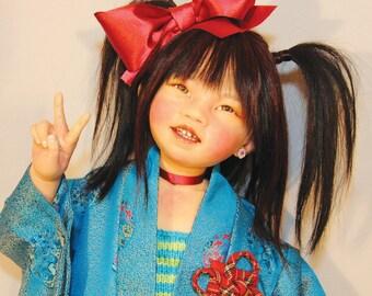 "JAPANESE Harajuku Artist Doll, ""MASAKO"" by Lynn Cartwright - 30"" tall"