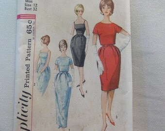 1962 Party Sheath Dress in 2 Lengths & Crop Jacket -UNUSED Vintage Simplicity Sewing Pattern 4688 Misses Size 12 Bust 32- Evening Cocktail