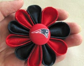 New England Patriots Red and Navy Silk Kanzashi Flower Pin with Logo Button - Lapel Pin