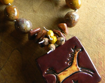 Jewelry Southwestern Horse Pendant Necklace Agate Copper Rustic Beaded