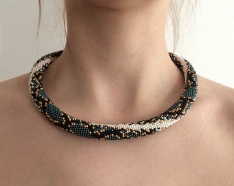 FREE SHIP Snake Skin Rope Necklace Crochet Bead Necklace Teal White Black Gold Choker Statement Necklace