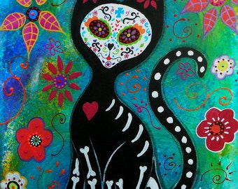 Mexican El Gato day of the Dead CAT  Painting Meow PRINT by Pristine Turkus