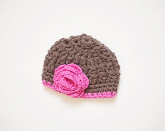 SALE - Brown Newborn Beanie with Pink Flower, Crochet Baby Hat, Cotton Infant Hat - Ready to Ship