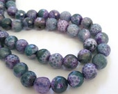 """Agate Beads - Purple Green - Faceted Round Agate Beads - Round Ball Bead - 8mm - Natural Gemstone - Craft Jewelry Making - 7.5"""" Strand"""