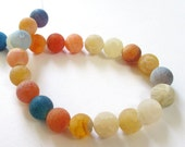 """Agate Round Beads - Frosted Matte Crackle Vein Beads - Weathering Agate Bead - Multicolor Drilled Stone - 16"""" Strand - 12mm - Jewelry Making"""