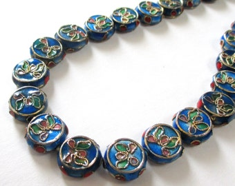 Cloisonne Beads - Cobalt Blue Coin Beads - Floral Cloisonne - Cloisonne Flat Round Spacers - 11mm - 9 PCS - Asian Oriental -  Jewelry Making