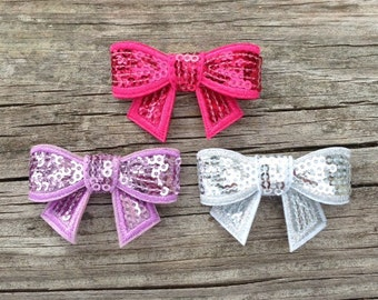 Bow Hair Clips, Girls Hair Clip Set, Hot Pink, Lavender, and Silver Sequin Bow Hair Clip Set, Toddler Hair Clips, Sequin Bow Hair Clips