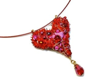 Fuzzy Whimsical Red Heart Necklace with Dangle, Heart Jewelry, Wearable Art
