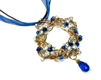 Cobalt Blue Prom Necklace Statement, Wreath, Repurposed, Necklace Earring Set