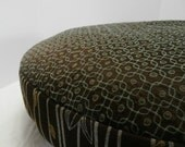 Dog Bed Cover   Rich Dk Brown/Aqua/Gold Pattern with Coordianting Upholstery  26 round