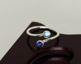 Kyanite & Apatite Ring // Sterling Silver // Duality // Open Ended  // Stacker Ring // Stacking Ring // Gemstone Ring