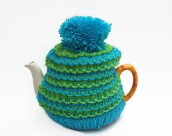tea pot  cozy hand knitted  cosie lime green and aqua  wool  medium pot uk seller