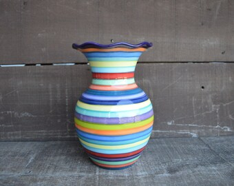 Mother's Day Large Ceramic Vase - Bright Rainbow Colored Stripes - Ruffled Rim - Dark Grape Purple Interior