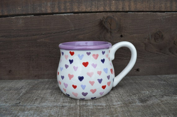 Lots of Hearts Love Mug - Purple Conversation Heart Ceramic Mug - Be Mine - Reds Pinks and Purples - Valentine's Day
