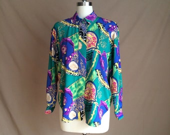 1990's vintage blouse vintage shirt / oversized baggy fit / heavy duty Fresh Prince overtones / color block
