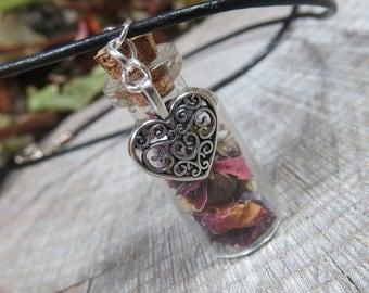 Heart Pendant Spell Bottle, Powerful Love Spell, Magic Love Spell Bottle,Glass Bottle Pendant,Witchcraft Wicca, Love Talisman Bottle Pendant