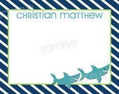 Personalized Digital/Printable Shark Nautical Striped Note Card - 4.25x5.5