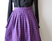 Vintage 50s Purple Plaid Cotton Full Skirt 24 Inch Waist