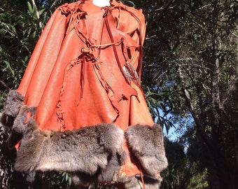 showdiva designs Leather Rabbit Trim Cape with Beads Fringe and Sculpted Roses and Vines