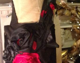 showdiva designs Asymmetrical Black n Red Deerskin Leather Bag Purse LoNg FriNgE n Hand Sculpted Flowers