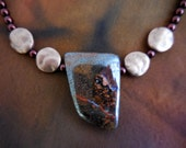 Stunning large boulder opal necklace with copper art deco clasp