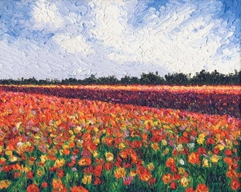 Field of Ranunculus, 8 x 10 in., giclee print