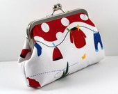 SALE Cotton Clutch with Silver Frame Bright Red in Clothes line Design, Make up Bag, Essentials Bag, Wallet FREE SHIPPING