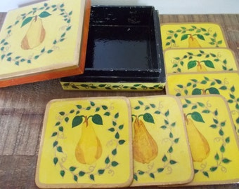 Set of Six Vintage Laquerware Yellow Pear Coasters in Matching Wood Box