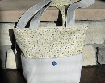 Over the Shoulder Purse in Tan Fabric with Blue Stars