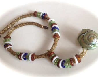 Antique Peyote 1920s Beaded Necklace with Rings