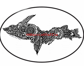 Michigan's Upper Peninsula UP Vinyl Decal 6x4 inches Oval, OUTLINED