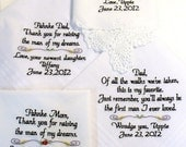 Embroidered Wedding Hankerchiefs, Wedding Gift, Mother of the Bride, Father, In-Laws, By Canyon Embroidery