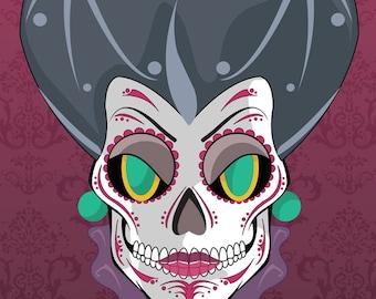 Lady Tremaine Disney Villains Sugar Skull Print 11x14 print