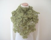 Olive Green Shawl - Floral Flower Triangle Cowl, Neckwarmer, Scarf - Gift for Her -  Green Crochet Shawl