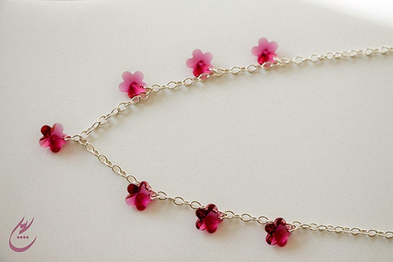 Fuchsia Pink Swarovski Crystal Flowers Necklace, Sterling Silver Chain Necklace, Bridal Jewelry, Modern Style Necklace, designbybehin