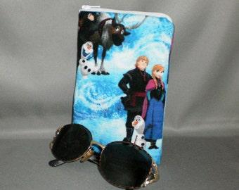 Eyeglass Sunglasses Case - Zipper Top - Cell Phone, Camera, iPod Bag - Padded Zipper Pouch - Frozen
