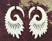 Fake Gauges, Fake Plugs, Handmade Bone Earrings, Tribal Style - Tribal Style Feather